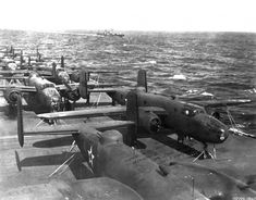 """Photo: Bombers V-25 on the deck of the aircraft carrier """"Hornet"""" on the way to Japan [4]"""