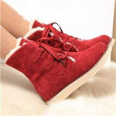 Stylish Suede Lace-up Ankle Flat Boots