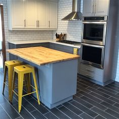 Kitchen remodel just completed in our new midcentury modern ranch. A mix of gray and white cabinets with a pop of color keeps it classic and on trend.