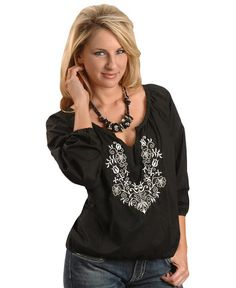 327a5bb5d9 Rock   Roll Cowgirl® Women s Black Chiffon with Sequins   Gold Dots Long  Sleeve Fashion Top