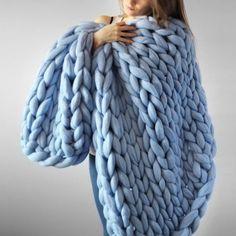 Chunky Giant Knit Wool Blanket - Thumbnail 4