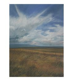 Pastel Landscape Drawing Original Art Blue Sky White by lauraprill