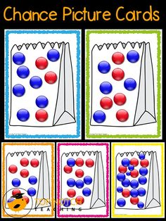 In this activity your students will make some predictions about chance events using picture cards that show different proportions of colored balls. Kindergarten Math Activities, Kindergarten Activities, Ks1 Maths, Numeracy, First Grade Math, Grade 2, 4th Grade Math Games, Second Grade, Probability Games