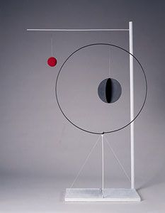 "Object with Red Ball, 1931  Wood, sheet metal, wire, and paint  61 1/4"" x 38 1/2"" x 12 1/4""  Calder Foundation, New York  A03741"