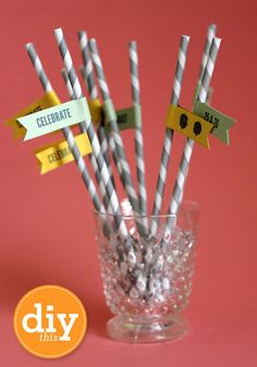 Sarah Hearts - DIY Paper Straw Flags