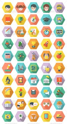 Modern Flat Education and Leisure Icons in Hexagon | Buy and Download: http://graphicriver.net/item/modern-flat-education-and-leisure-icons-in-hexagon/6662715?WT.ac=category_thumb&WT.z_author=vectorikart&ref=ksioks