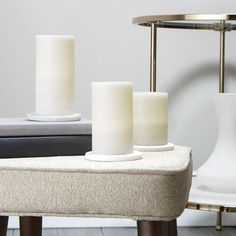 This set features three Mediterranean inspired, white-washed ivory wax pillar candles, each with a warm glow and natural flicker. Arrange among your favorite trinkets on a coffee or console table for a touch of inviting ambiance. Perfect for hom Flameless Candles, Pillar Candles, Battery Candles, Wedding Flower Packages, Modern Rustic Decor, Unity Candle, Modern Light Fixtures, Wedding Flower Arrangements, Tea Lights