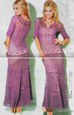 crochelinhasagulhas: Vestido lilás em cochê