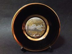 Pre Owned Japanese Art of Chokin Plate w/ Gold Gilt Detail of Hawaii Scene Vintage Ceramic, Japanese Art, Beautiful Words, My Ebay, Hawaii, Copper, Scene, Plates, Ceramics