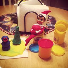 Elf on a Shelf - Creating Christmas creations from the Play-doh