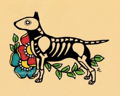Day of the Dead Dog BULL TERRIER Dia de los Muertos Art Print 5 x 7, 8 x 10 or 11 x 14 - Choose your own words - Shelter Donation by illustratedink on Etsy https://www.etsy.com/uk/listing/165927443/day-of-the-dead-dog-bull-terrier-dia-de