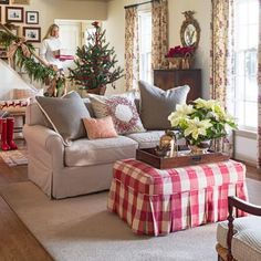 Plaid and poinsettias create a farm chic Christmas. Details: http://www.midwestliving.com/homes/featured-homes/holiday-house-tour-tailor-made-holiday/?page=3