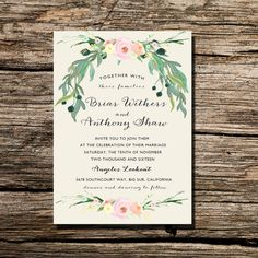 Printable Wedding Invitation Ivory Watercolor by FateandFourtune