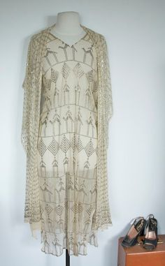 Bridal Pattern - 1920's ARTDECO Sheer Mesh with Woven Metal Print Dress and AZUTE Shawl