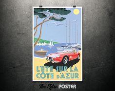 L'Été Sur La Côte d'Azur - Ferrari - Travel Poster France, Travel Prints, Travel gift, Travel Poster Prints, Classic Car Print, Beach Print by TheRetroPoster on Etsy
