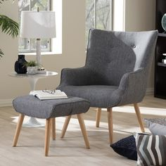 Baxton Studio Alkyone Mid-Century Grey Armchair and Ottoman Set | Overstock.com Shopping - The Best Deals on Living Room Chairs