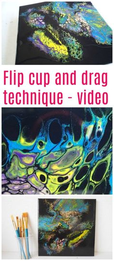 flip cup and drag acrylic pouring technique tutorial video for this technique to create cells - Difference Peinture Acrylique Et Vinylique