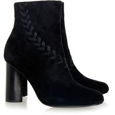Senso Sara Black Suede Stitched Ankle Boot (785 CNY) ❤ liked on Polyvore featuring shoes, boots, ankle booties, black, black booties, black boots, high heel booties, black suede bootie and suede booties