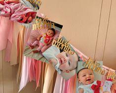 Mensuel Photo bannière & guirlande de ruban. Fabriqués à la main en 2-5 jours ouvrables. 1er anniversaire rose et or. Première Photo d'anniversaire guirlande.
