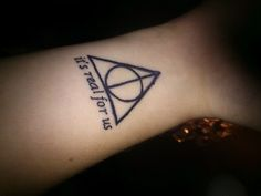My first tattoo ever! Got it done at Blue Cock Tattoo in a small town in Sweden and I'm so happy with :DHogwarts - It's real for us <3