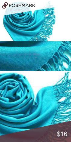 """New! Turquoise Scarf Pashmina Simply Stunning. Gorgeous Color and exceptional quality.  Gorgeous lightweight cashmere and silk blend blend turquoise blue scarf. New in packaging. 75"""" X 25"""" approximately. Simply beautiful. Easily worn now into the fall. Excellent quality and very soft. 🌹bundles welcome. Photos 2 & 3 are of the scarf for sale. Fashion Pashmina Accessories Scarves & Wraps"""