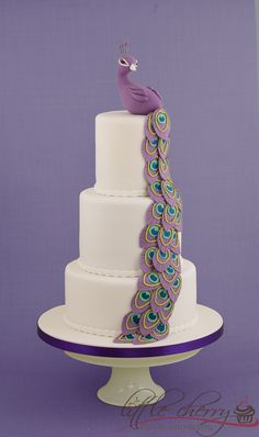 Purple Peacock Wedding Cake - A Peacock cake......for a Mr and Mrs Peacock!!!