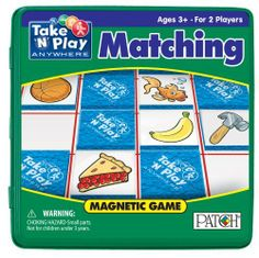 """Patch Matching by Patch Products. $7.75. Find the matching magnetic tiles by remembering where you saw them before. Contents: 36 Magnetic Tites, Magnetic Game Board and Rules. For 2 players. Ages 3 and up. From the Manufacturer                Take 'N' Play Anywhere games feature big magnetic playing pieces that are easy for kids to use and hard for kids to lose. The convenient 6 3/4"""" square tin case makes it easy to slip the games into most bags to take everywhere and kee..."""