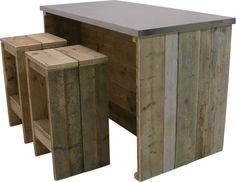 Bar tafel/ keukeneiland RVS blad, oud steigerhout