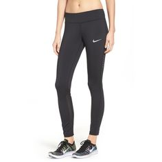 Women's Nike Power Epic Running Tights (120 NZD) ❤ liked on Polyvore featuring activewear, activewear pants, black, nike activewear, nike sportswear, nike and nike activewear pants