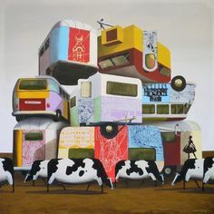 Manyung Gallery Group Darren  Doye Pile of vans with cows