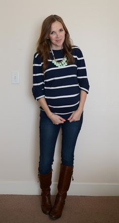 casual attire | skinny jeans,  boots and stripes {merricks art}
