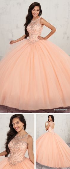 MQ1012 Tulle quinceanera ball gown features basque waisted bodice with scoop neck and bead embellishment, back with cut out and lace-up closure, and sweep train.