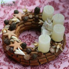 adventi koszorú (25cm) Advent, Candles, Wreaths, Christmas, Ideas, Christmas Ornaments, Corona, Navidad, Flowers
