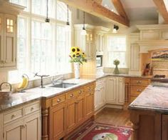 kitchen ideas mixed cabinets with oak and painted cabinets - Bing Images