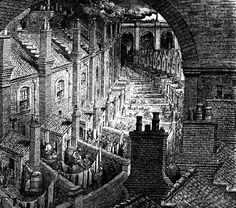 """Gustave Doré - Over London - from """"London, a Pilgrimage"""" (1872) written by William Blanchard Jerrold"""