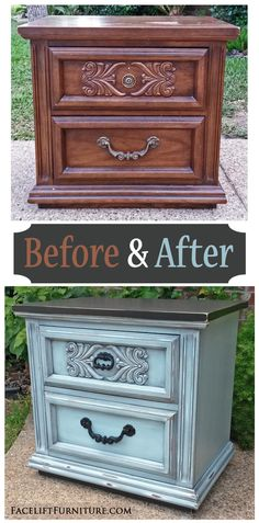 Ornate Nightstand in Robin's Egg Blue & Black - Facelift Furniture