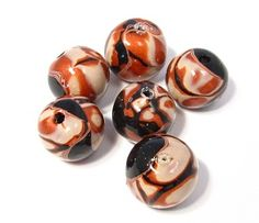 Copper Colored Polymer Clay Mokume Gane Beads
