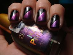 Black polish for a base, and Sally Hansen Nail Prisms Turquoise Opal for the design.
