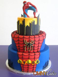 Dylan's Spiderman on Rooftop Cake