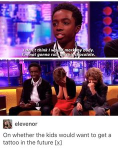 Lol. Millie and Gaten's reactions are amazing!!!
