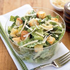 We've given high-calorie Caesar a healthy makeover. We coated the croutons with cooking spray instead of olive oil, then replaced egg yolk with light mayonnaise to keep the classic dressing's creamy texture — without the classic guilt. Recipe: Healthy Makeover: Caesar Salad   - Delish.com