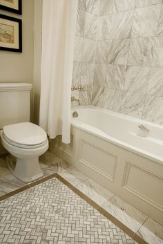Terra Verre - bathrooms - paneled tub, paneled bath, wainscoting paneled tub, marble tile, marble tiled shower surround, marble tile in bath...