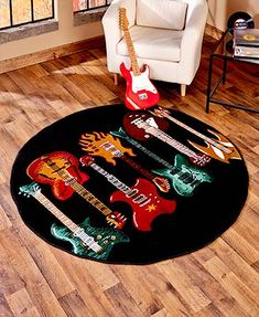 This Themed Decorative Rug Collection infuses some style into your space. This rug adds character to any room while protecting a high traffic area. Each features a unique and colorful design that& look great in a music room, man cave and more. Band Rooms, Guitar Room, Man Cave Home Bar, Trendy Colors, Vivid Colors, Round Rugs, Best Interior Design, Room Themes, Unique Home Decor