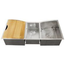 """View the Ticor TR2240 Stainless Steel 16 Gauge Undermount 42"""" Wide Kitchen Sink with Triple Basin and Accesories Included at FaucetDirect.com."""
