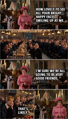 Dolores Umbridge: Thank you, headmaster, for those kind words of welcome. And how lovely to see all your bright… happy faces smiling up at me. I'm sure we're all going to be very good friends. Fred and George Weasley: That's. Harry Potter Jokes, Harry Potter Fandom, Phoenix Harry Potter, Hp Quotes, Happy Faces, Percy Jackson Fandom, Bright, Collections, Fred George Weasley