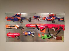 Diy Nerf Gun Rack Used A Ladder From An Old Bunk Bed