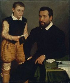 Moroni 1550 portrait of a man and boy, possibly a count and his son.  |  Unpaned Trunk hose, and Pockets!