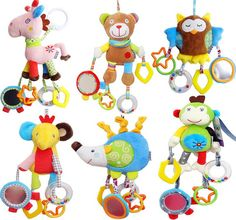 Toys & Hobbies Cute Baby Plush Toys Cartoon Animal Lion Pig Cow Duck Infant Outdoor Travel Appease Toy Rattles Boys Girls Birthday Gifts