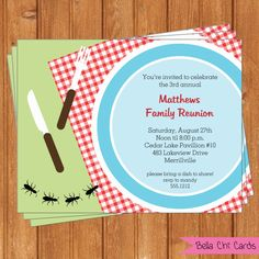 Picnic Plate Family Reunion Invitations by BellaChiCards on Etsy, $9.00