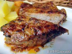 Friptura de porc la cuptor New Recipes, Cooking Recipes, Romanian Food, Romanian Recipes, Pork Loin, Steak, Grilling, Ale, Bacon